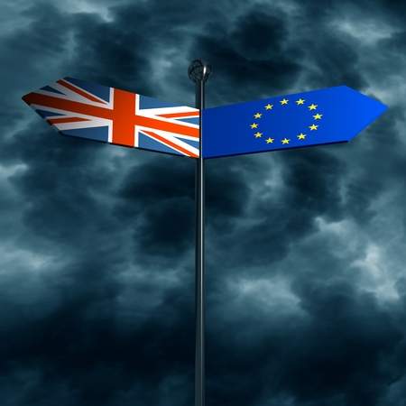 Image relative to politic situation between great britain and european union. Politic process named as brexit. National flags on destination arrow road. 3D rendering