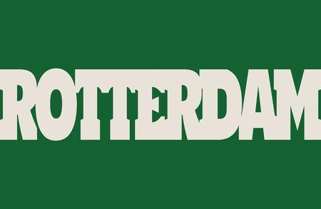 Rotterdam vlag ontwerpconcept. Vlag met stadsnaamwoord. Afbeelding met betrekking tot reizen en politieke thema's