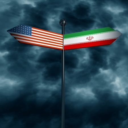 Image relative to politic situation between USA and Iran. National flags on destination arrow road. 3D rendering Stock Photo