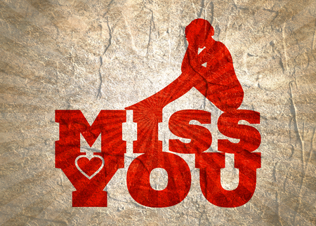 Miss you text with heart icon and sitting on them woman silhouette. Background relative to valentines day. Stock Photo