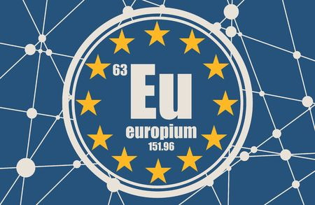 Europium chemical element. Sign with atomic number and atomic weight. Chemical element of periodic table. Flag of the European Union. Connected lines with dots. Illustration