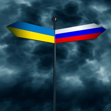 treaty: Image relative to politic situation between Ukraine and Russia. National flags on destination arrow road. 3D rendering