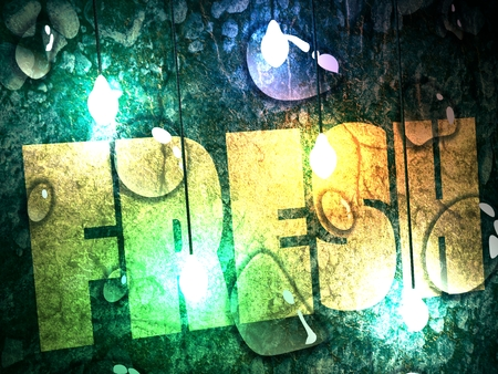 Transparent water drops on dark blue background. Concrete Wall Textured Backdrop Surface. Fresh word. Yellow letters. Electric bulbs illumination. 3D rendering