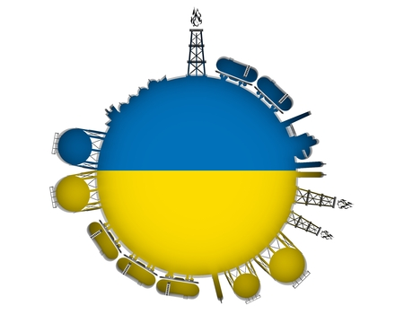 natural gas production: Circle with energy relative silhouettes. Natural gas industry concept. Objects located around the manometer circle. 3D rendering. Flag of the Ukraine