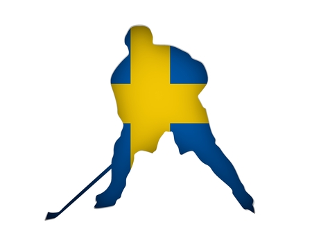 Professional hockey player cutout silhouette. Flag of the Sweden on backdrop. 3D rendering
