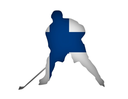 Professional hockey player cutout silhouette. Flag of the Finland on backdrop. 3D rendering
