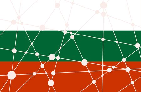 Flag of the Bulgaria. Low poly concept triangular style. Molecule And Communication Background. Connected lines with dots. Illustration