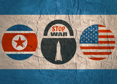 Image relative to politic situation between USA and North Korea. National flags on clouds divided by lock with stop war text and missile icon as keyhole 스톡 콘텐츠