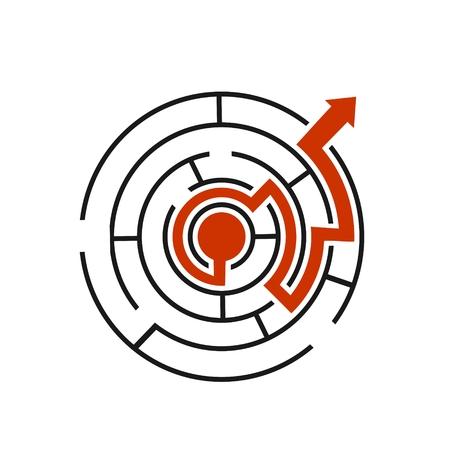 Red path across circular labyrinth vector