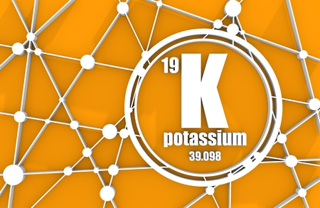 Potassium chemical element. Sign with atomic number and atomic weight. Chemical element of periodic table. Molecule And Communication Background. Connected lines with dots. 3D rendering