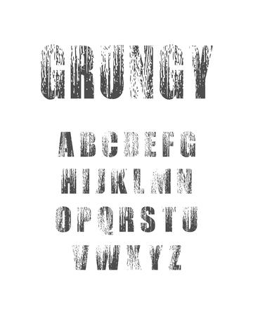 Vector Alphabet Set. Geometry style font. Grunge texture effect