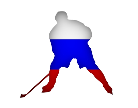 Professional hockey player cutout silhouette. Flag of the Russia on backdrop. 3D rendering Stock Photo