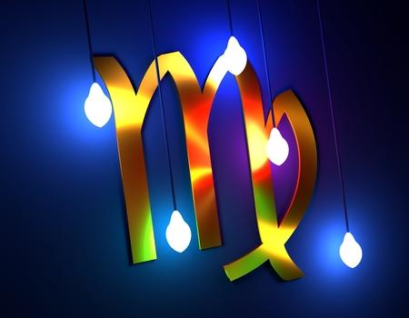 virgo: Signo Astrológico. Plantilla de tarjeta de celebración. Iluminación de bombillas eléctricas. Maiden zodiac symbol. Representación 3D