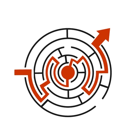 Red path across circular labyrinth. Right way concept