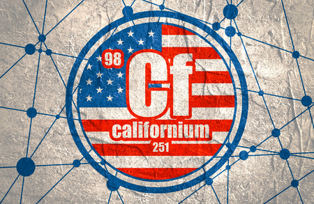 Californium chemical element. Sign with atomic number and atomic weight. Chemical element of periodic table. Molecule And Communication Background. Connected lines with dots. Flag of the USA Stock Photo