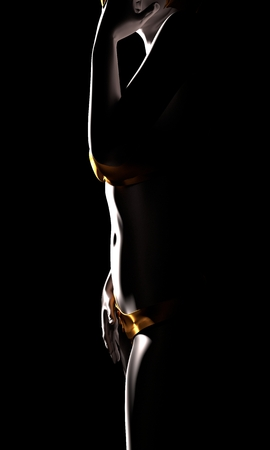 Beautiful sexy fitness girl. Pretty woman wearing golden lingerie. Side view. 3d rendering