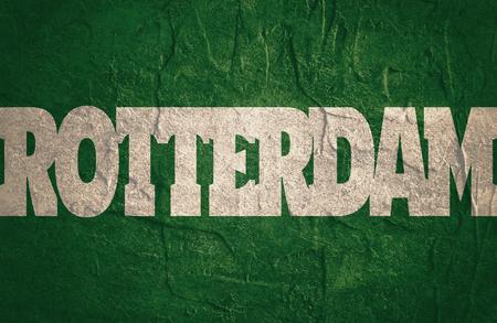 Rotterdam vlag ontwerpconcept. Vlag met het woord van de landnaam. Beeld met betrekking tot reizen en politieke thema's Stockfoto