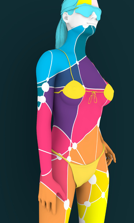 Beautiful sexy fitness girl. Pretty woman wearing pink lingerie and sunglasses textured by low poly pattern. Half turn view. 3d rendering