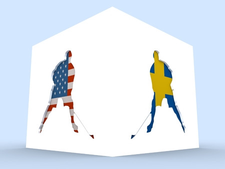 USA vs Sweden. Ice hockey competition. Hockey players silhouettes yextured ny national flags. 3D rendering
