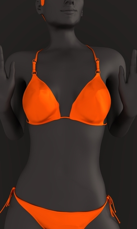 Beautiful sexy fitness girl. Pretty woman wearing orange bikini and sunglasses. Front view. 3d rendering Stock Photo