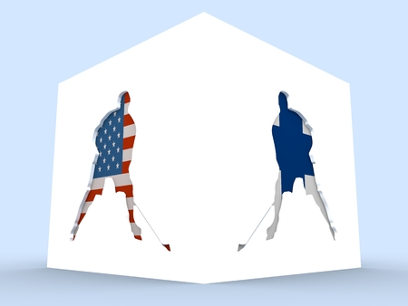 USA vs Finland. Ice hockey competition. Hockey players silhouettes yextured ny national flags. 3D rendering