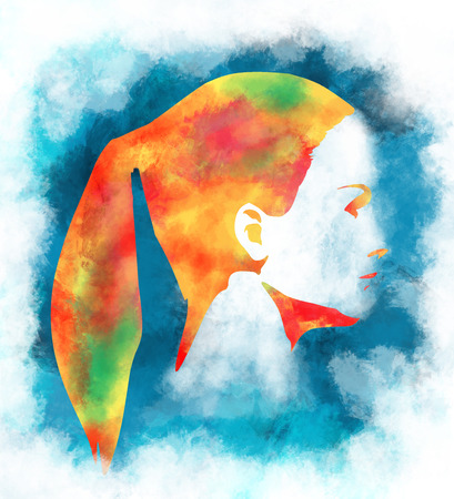 Kunst, die schönes Mädchengesicht mit Ponyendstückfrisur bunt skizziert. Portrait der schönen Frau. Seitenansicht Standard-Bild - 90602437
