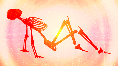 Human skeleton posing. Halloween party design template