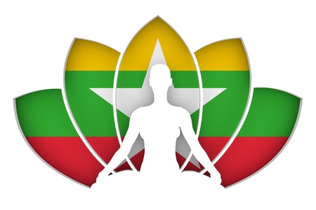 Woman sit in yoga meditation pose. Lotus flower cutout silhouette. Flag of the Myanmar on backdrop. 3d rendering