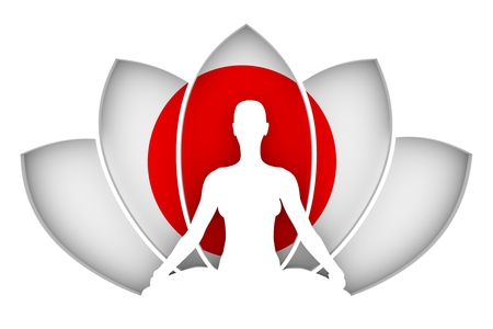 Woman sit in yoga meditation pose. Lotus flower cutout silhouette. Flag of the Japan on backdrop. 3d rendering