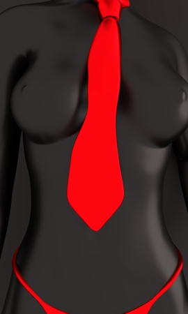 Beautiful sexy fitness girl. Pretty woman wearing red lingerie and tie. Front view. 3d rendering Stock Photo