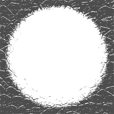 Grunge cracks effect texture. Cracked concrete wall. Round text field.