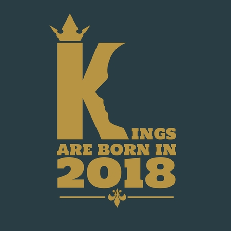Vintage medieval royal crown silhouette. Medieval king profile. Kings are born in january text. Motivation quote vector.