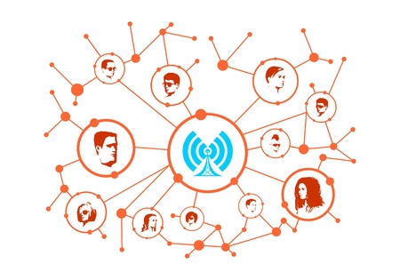 Social media network. Growth background with lines, circles and integrate avatars. Connected symbols for digital, interactive and global communication concept. Wi Fi technology.