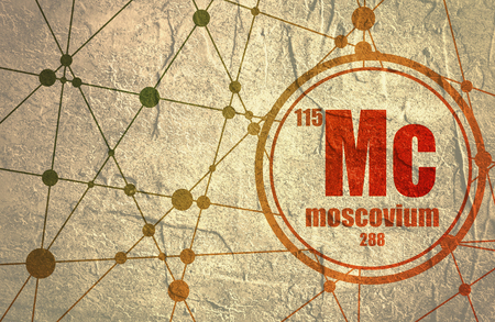 Moscovium chemical element. Sign with atomic number and atomic weight. Chemical element of periodic table. Molecule And Communication Background. Connected lines with dots.