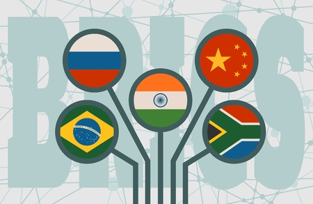 BRICS - association of five major emerging national economies members flags. Trade union. Molecule And Communication Background. Brochure or web banner design. Connected lines with dots