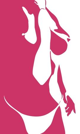 Piękna dziewczyna fitness. Ładna kobieta jest ubranym bieliznę i krawat. Widok do połowy obrotu. Ilustracje wektorowe