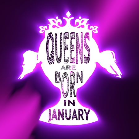 Vintage queen silhouette. Medieval queen profile. Elegant silhouette of a female head. Queens are born in january text. Neon shine illumination. 3D rendering
