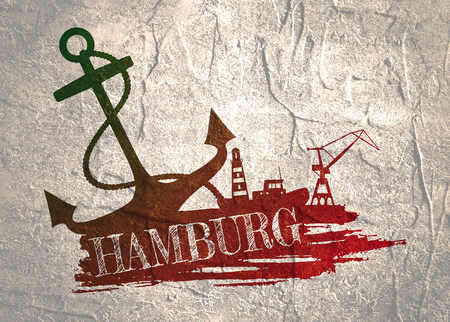 Anchor, lighthouse, ship and crane icons on brush stroke. Calligraphy inscription. Hamburg city name text Stockfoto