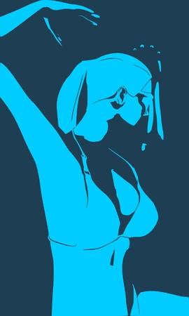 Beautiful sexy dancing girl. Pretty woman silhouette. Half turn view. Çizim