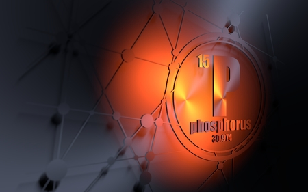 Phosphorus chemical element. Sign with atomic number and atomic weight. Chemical element of periodic table. Molecule and communication background. Connected lines with dots. 3D rendering
