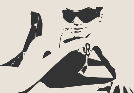Beautiful sexy fitness girl lying on dark floor. Illustration