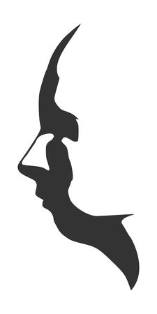 Face side view. Silhouette of a human head. Monochrome gamma. Illustration