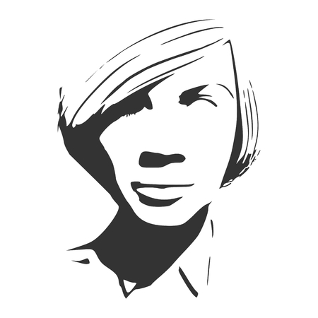 Face front view. Elegant silhouette of a female head. Short hair. Monochrome gamma.