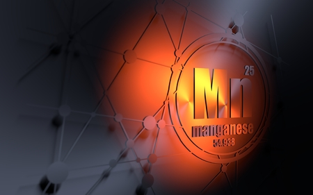 Manganese chemical element. Sign with atomic number and atomic weight. Chemical element of periodic table. Molecule and communication background. Connected lines with dots. 3D rendering Stock Photo