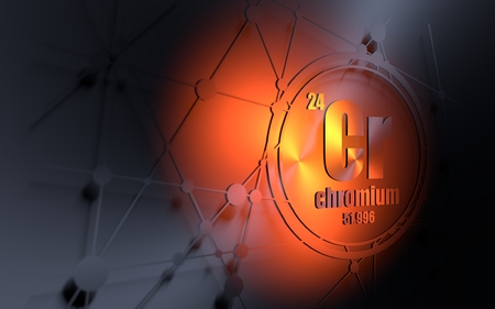 Chromium chemical element. Sign with atomic number and atomic weight. Chemical element of periodic table. Molecule and communication background. Connected lines with dots. 3D rendering Stock Photo