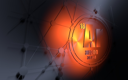 Argon chemical element. Sign with atomic number and atomic weight. Chemical element of periodic table. Molecule and communication background. Connected lines with dots. 3D rendering