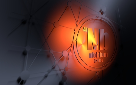 Niobium chemical element. Sign with atomic number and atomic weight. Chemical element of periodic table. Molecule and communication background. Connected lines with dots. 3D rendering