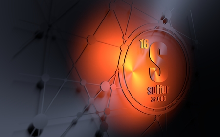 Sulfur chemical element. Sign with atomic number and atomic weight. Chemical element of periodic table. Molecule and communication background. Connected lines with dots. 3D rendering