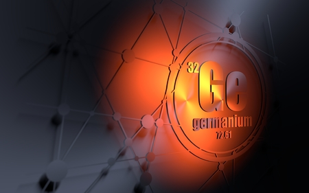 Germanium chemical element. Sign with atomic number and atomic weight. Chemical element of periodic table. Molecule and communication background. Connected lines with dots. 3D rendering Stock Photo