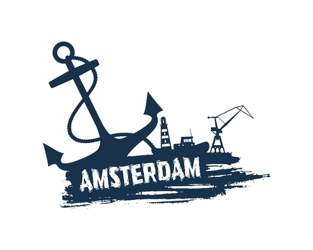 Anchor, lighthouse, ship and crane icons on brush stroke. Calligraphy inscription. Amsterdam cargo port name.